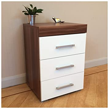 new style 1e4f6 c53eb 3 Drawer White & Walnut Bedside Cabinet/Table (3 Draw Chest) Bedroom  Furniture