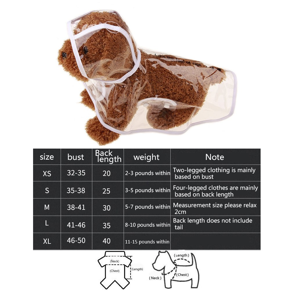 Morza Perro del Impermeable Transparente para Mascotas Ropa Chaqueta Impermeable Poncho de Rainsuit Peque/ño Grande Ropa del Verano del Perro del Perrito de Capas de Lluvia