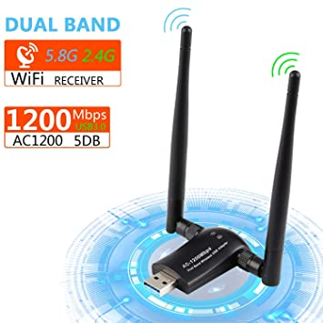 Xpassion USB WiFi Adaptador 2 Antenas 1200Mbps, 5dBi Dual Band(5GHz 867Mbps/2.4