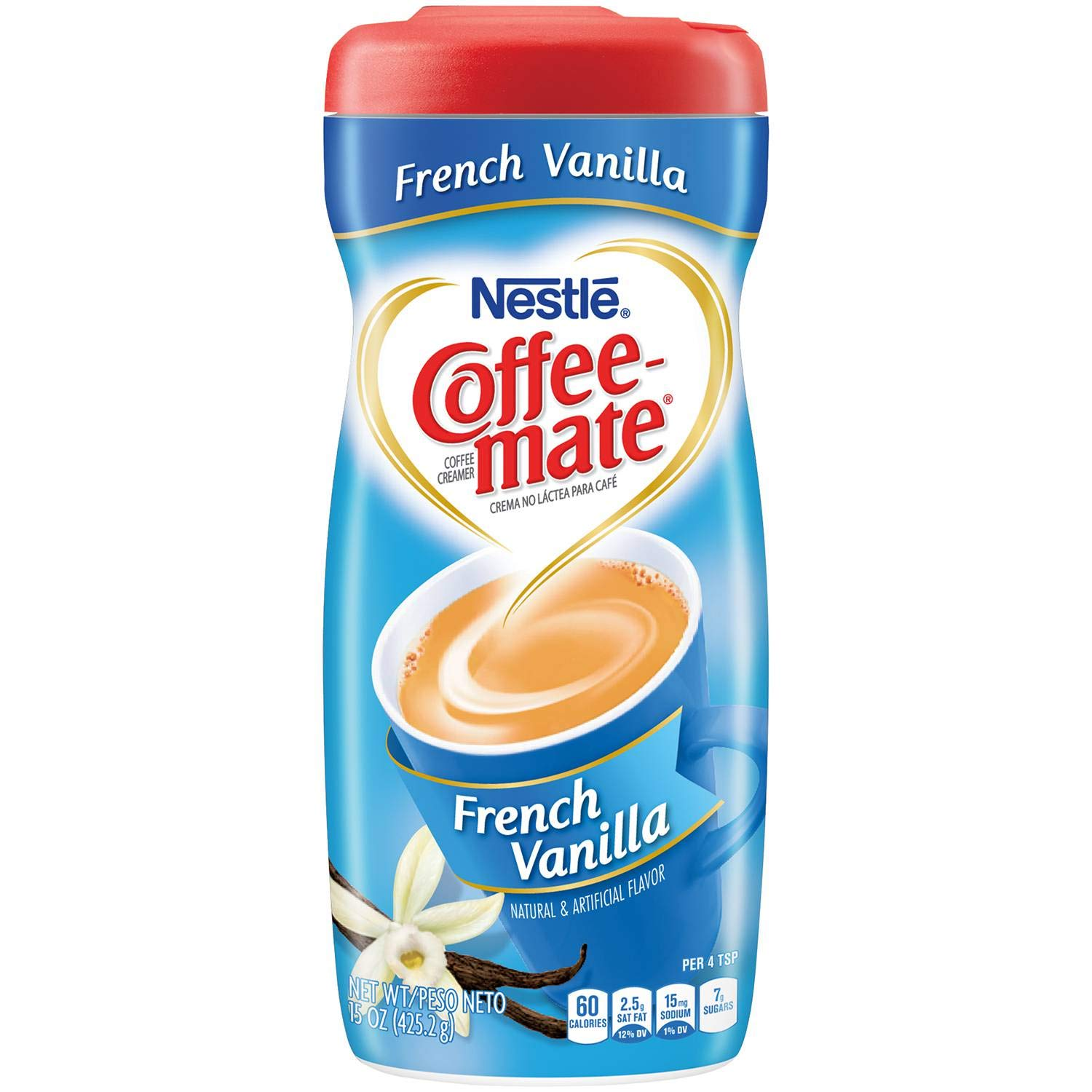 COFFEE MATE French Vanilla Powder Coffee Creamer 15 Oz. Canister | 6 Pack | Non-dairy, Lactose Free, Gluten Free Creamer