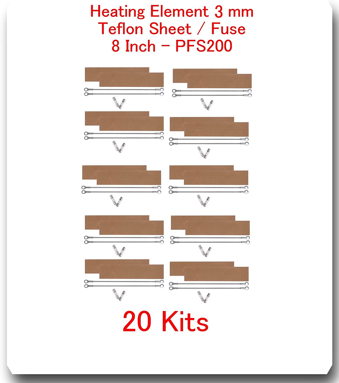 (20 Kits) Replacement Elements for Impulse Sealer PFS-200 8