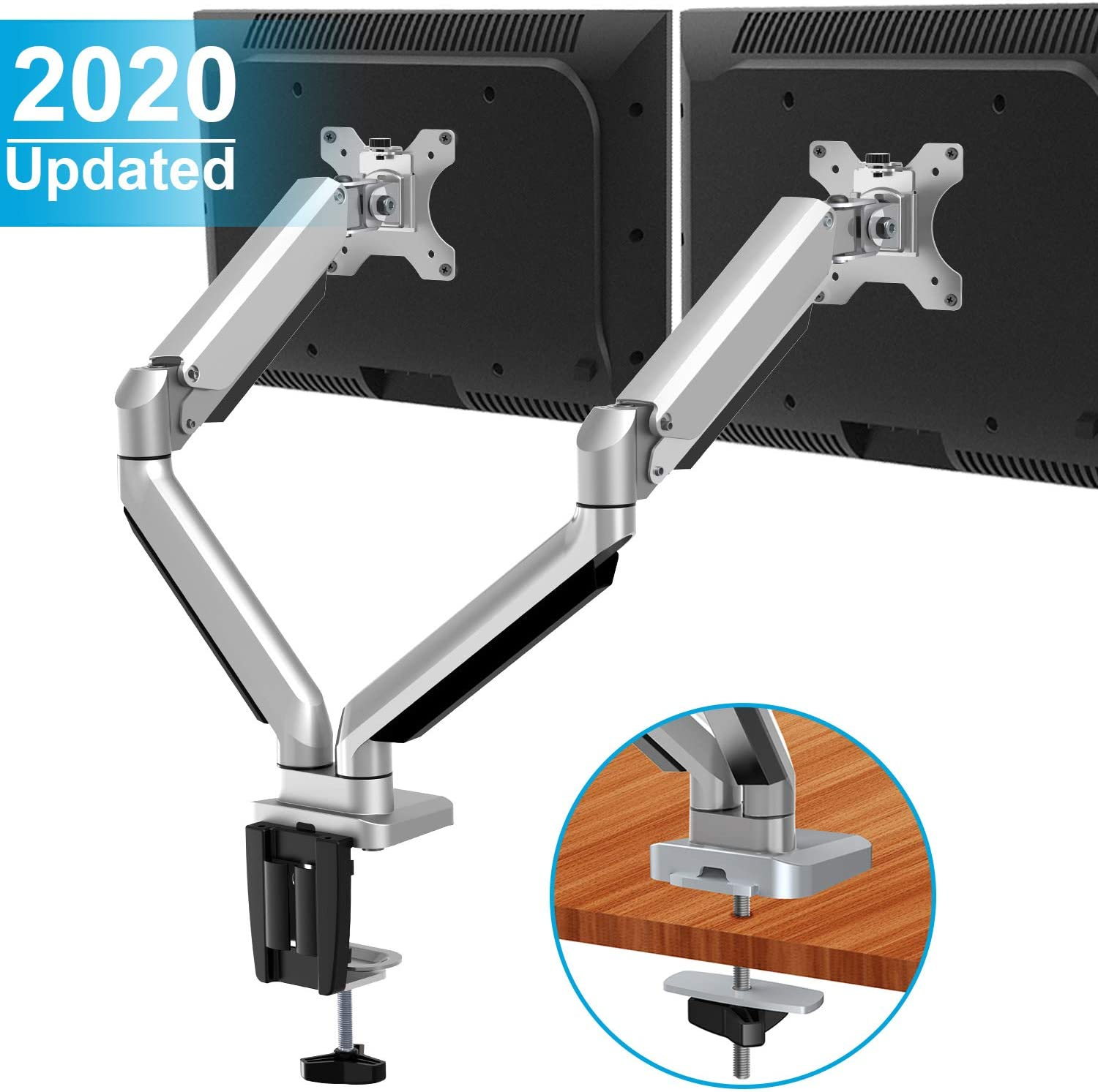 Dual Monitor Desk Mount, Height Adjustable Monitor Stand, Articulating Gas Spring Monitor Arm with C Clamp and Grommet Base - Fits 2 Computer Screens up to 32 Inch, 17.6lbs Each, Removable VESA 75 100