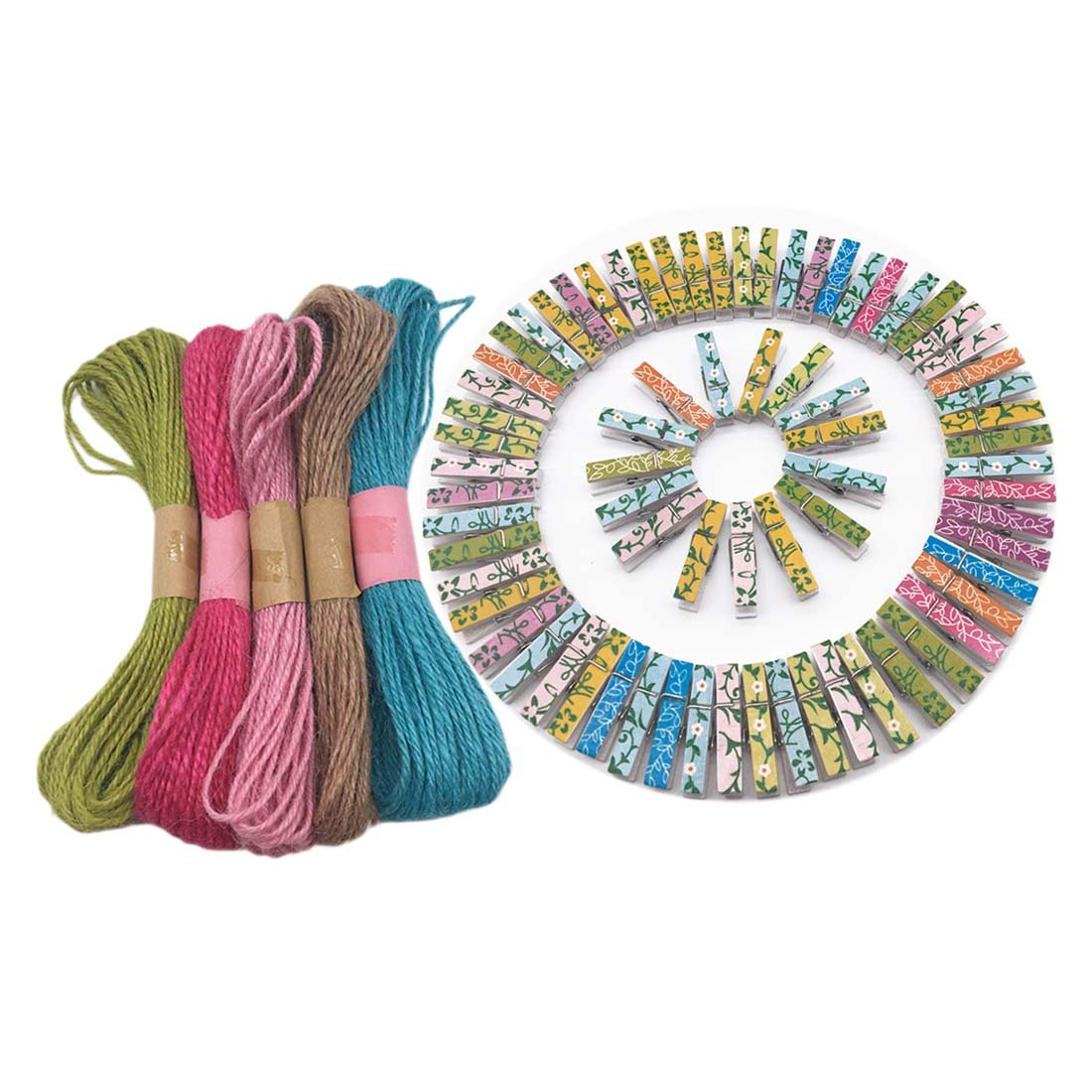 Pack of 100 Mini Wooden Photo Paper Clip Craft Clips Clothes Pin Clothes Line Clips with 5 Skein Jute Twines, 32 ft per Skein (Colorful-Style 2)
