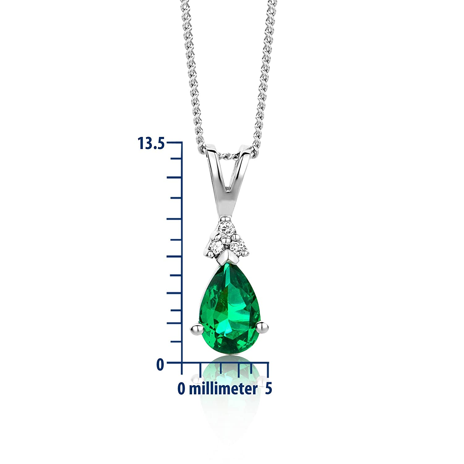 Miore 9 kt White Gold Necklace with Diamond (0.01 ct) and created Emerald Pendant on 45 cm Curb Chain for Women FCcuiDtUte