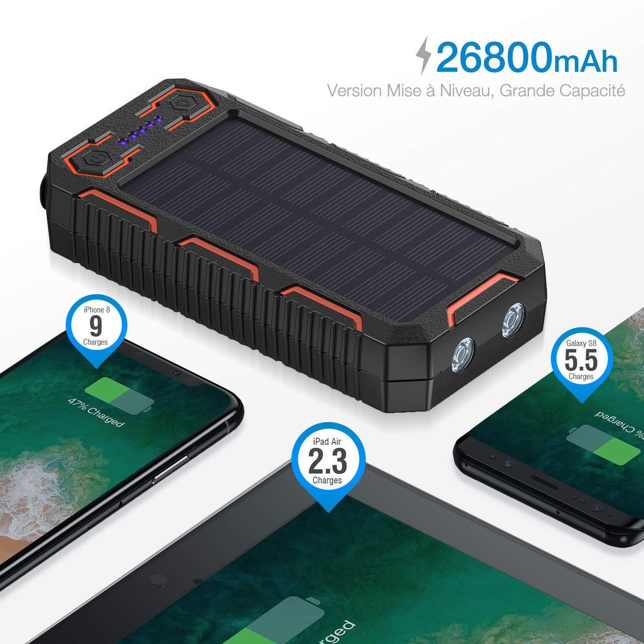 POWERADD Chargeur Solaire 26800mAh, Batterie Externe Solaire avec Double Entrée Deux Lampes LED Briquet Intégré pour iPhone, iPad, Samsung, Nexus, Huawei et d\'autres Appareils