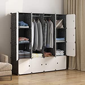"MAGINELS Portable Wardrobe Closets 14""x18"" Depth Cube Storage, Bedroom Armoire, Storage Organizer with Doors, 16 Cubes, Black"
