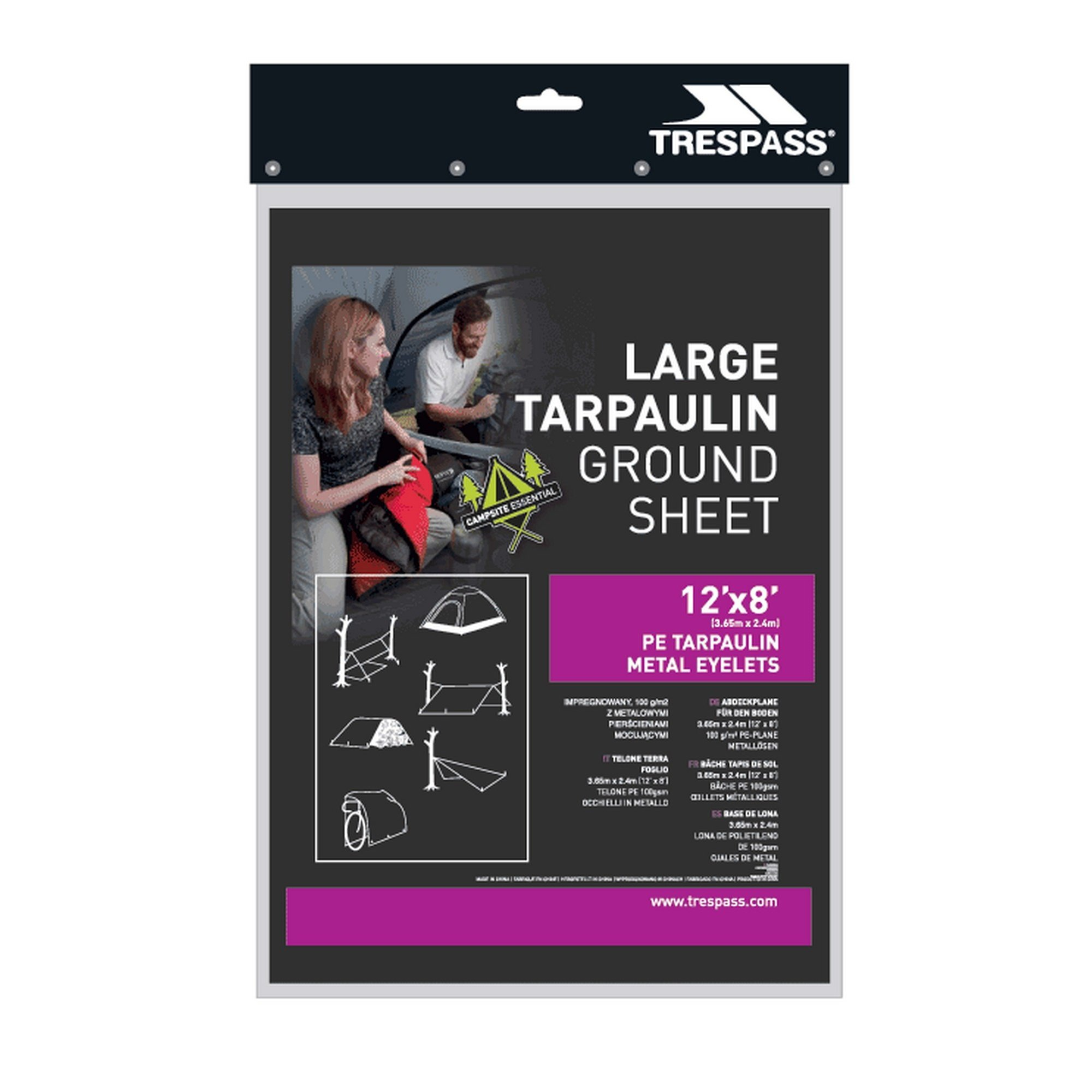 Trespass Faulken Large Tarpaulin Ground Sheet (One Size) (Black) by Trespass