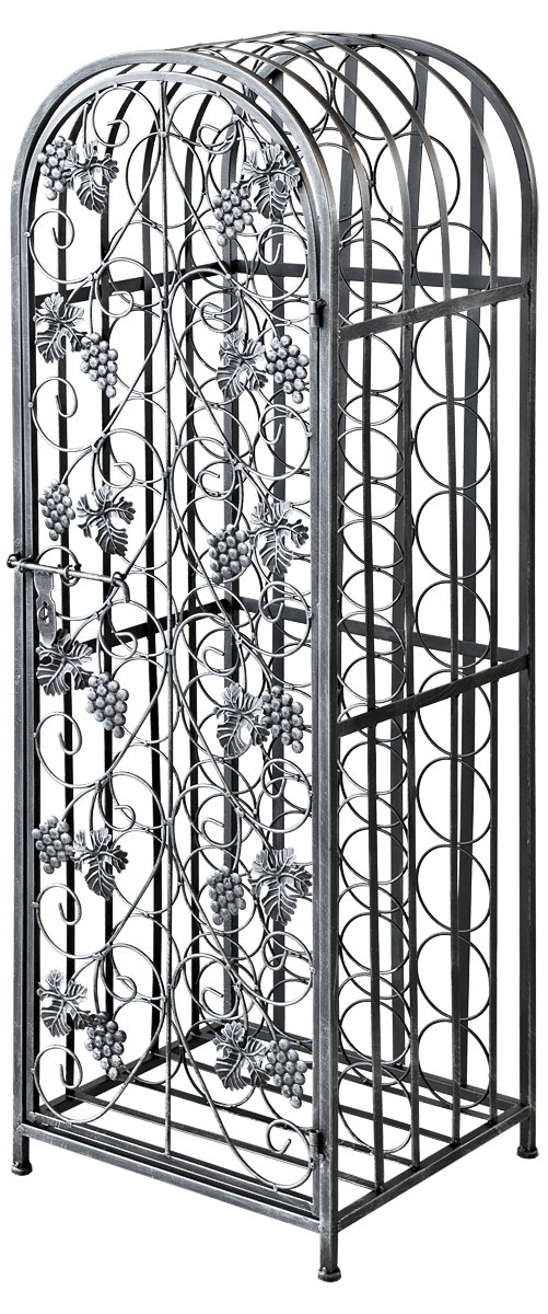 Febland Antique Silver Wrought Iron Wine Rack, Metal WR10SV