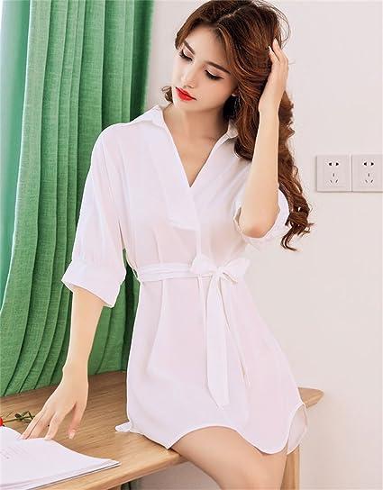 SMC Pijamas para mujer Pijama Verano de Las Mujeres Camisa Sexy para Mujer Suelta camisón de