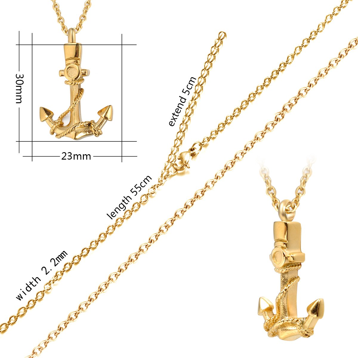 7Morning Cremation Urn Jewelry Anchor Necklace Ashes Keepsake Memorial Stainless Steel Pendant