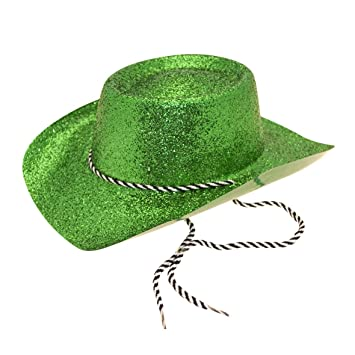 Hat Glitter Cowboy (Adult) Green for Fancy Dress Party Accessory   Amazon.co.uk  Toys   Games 83b25027e8cb