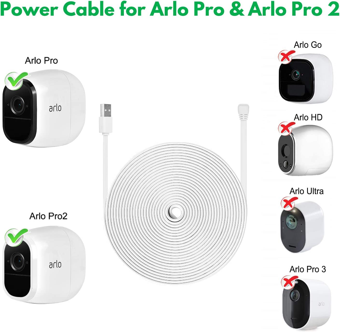with Quick Charge 3.0 Power Adapter Charger Continuously Charging Your Arlo Camera Zeshbit 30FT Weatherproof Outdoor Power Cable for Arlo Pro and Arlo Pro 2 White