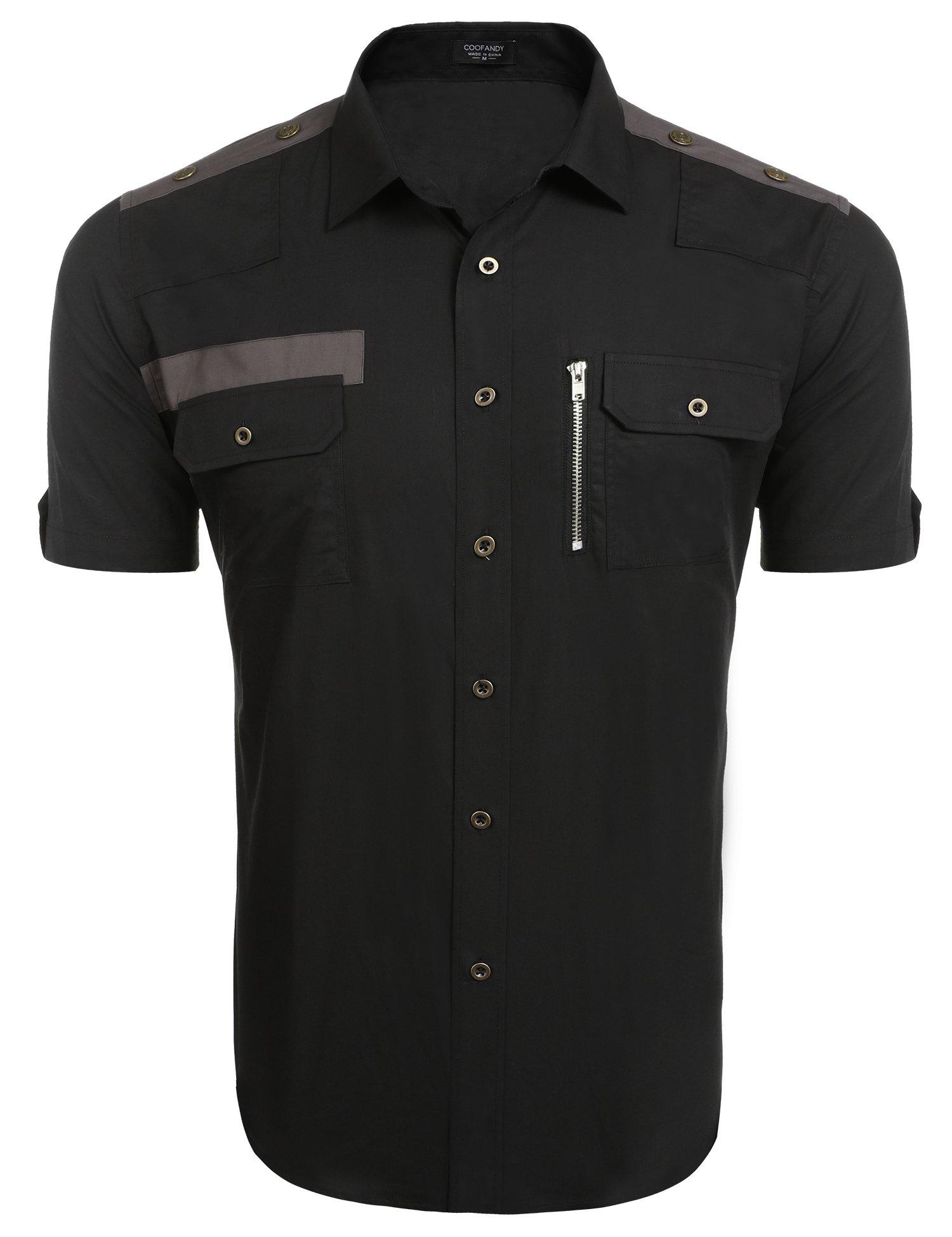COOFANDY Mens Casual Short-Sleeve Button Down Work Shirts,Black,Medium Black Medium