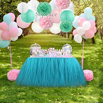 Sopeace Pink And Mint Green Party Decorations Tissue Pom Pom Paper Lanterns Honeycomb Ball And Latex Balloons For Girl Princess Party Baby Shower