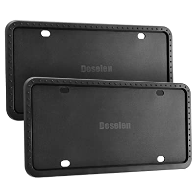 Deselen Silicone License Plate Frame, Minimalist and Stylish, 2 Pack, Black: Automotive