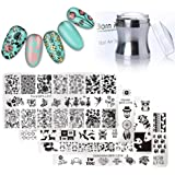 Born Pretty 4Pc Stamping Plate Hipster Rectangle Manicure Nail Art Image Template And Silver Metal Clear 3.9cm Silicone Jelly Stamper & BORN PRETTY Scraper