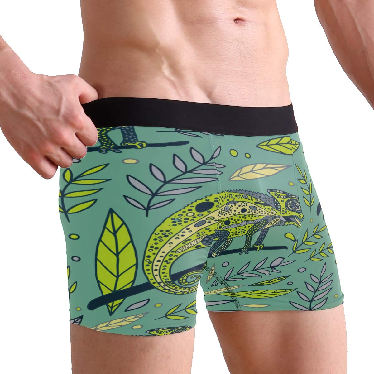 ZZKKO Chameleon Leaf Mens Boxer Briefs Underwear Breathable Stretch Boxer Trunk with Pouch S-XL