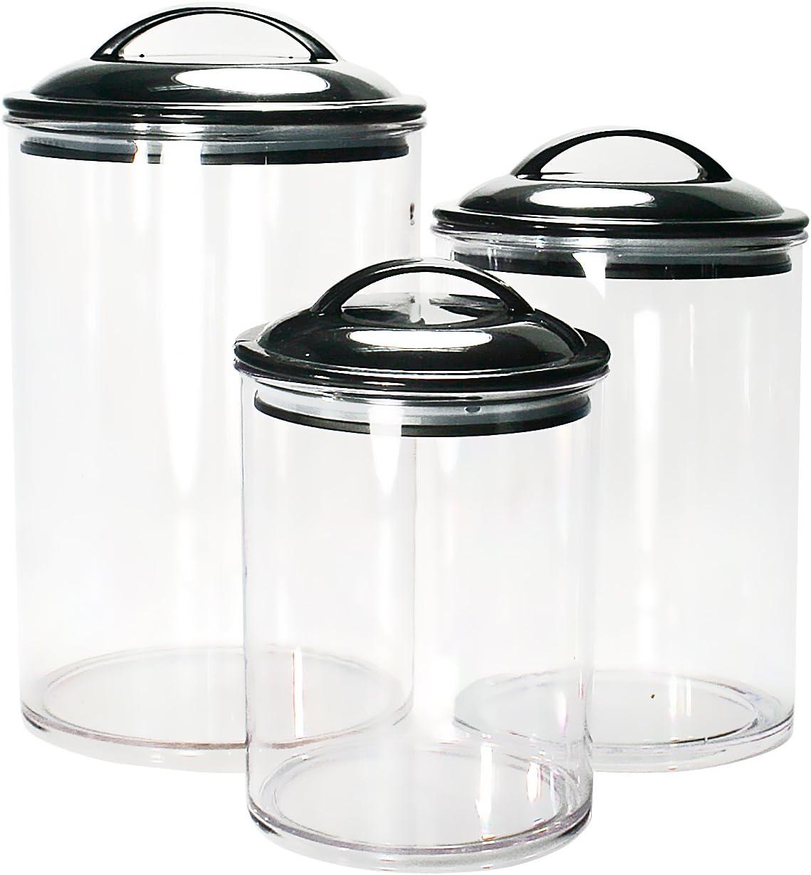 Calypso Basics by Reston Lloyd Acrylic Storage Canisters, Set of 3, Black
