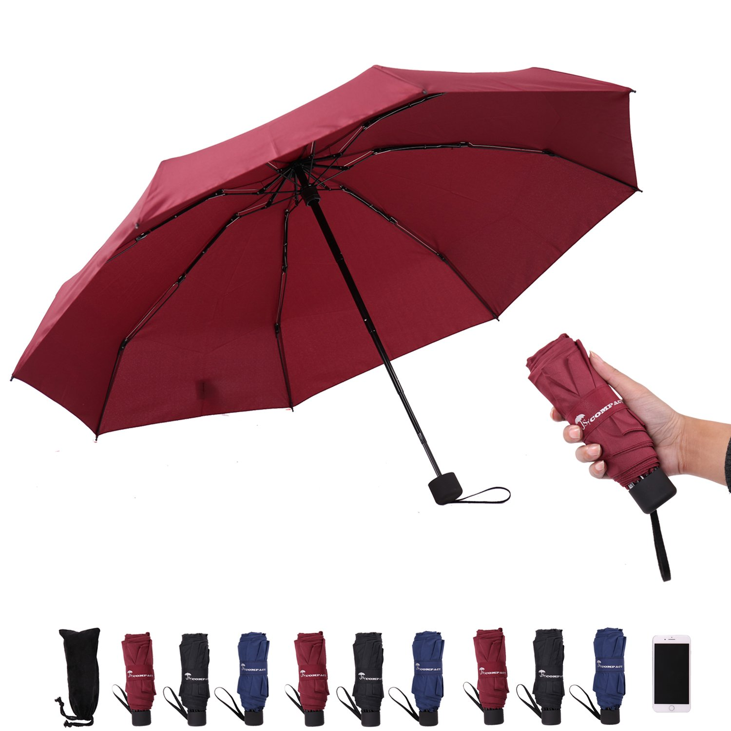 SY Compact Travel Umbrella - Lightweight Portable Mini Compact Umbrellas-Factory Outlet Shop (Black)