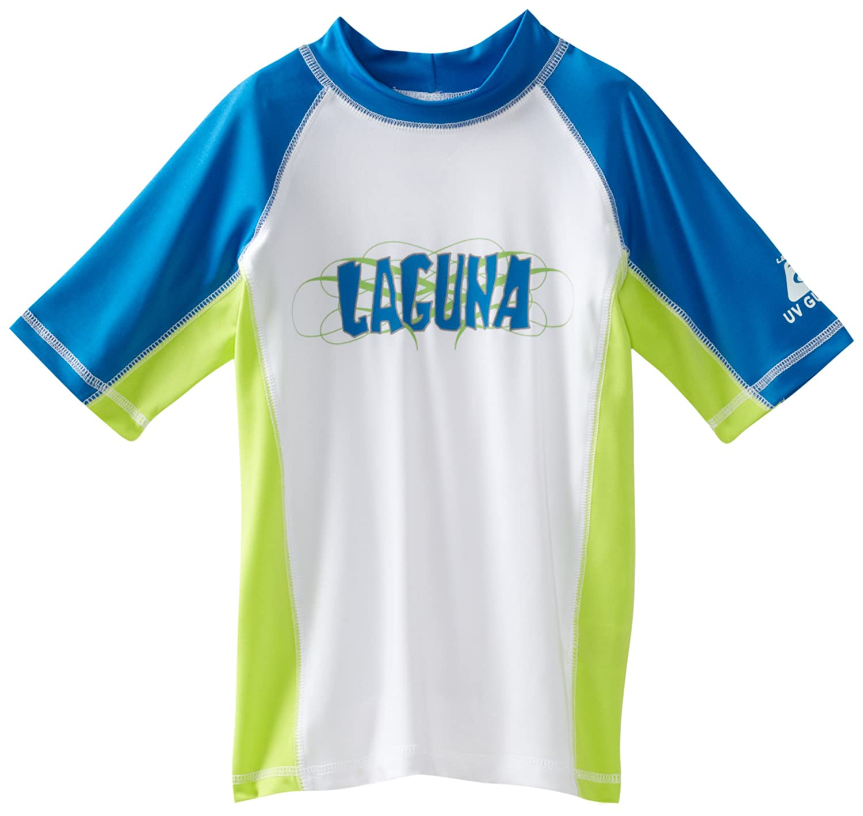 Hidary /& Company Inc L845542 Laguna Big Boys Wave Rider Color Block Rashguard Shirt White X-Large M