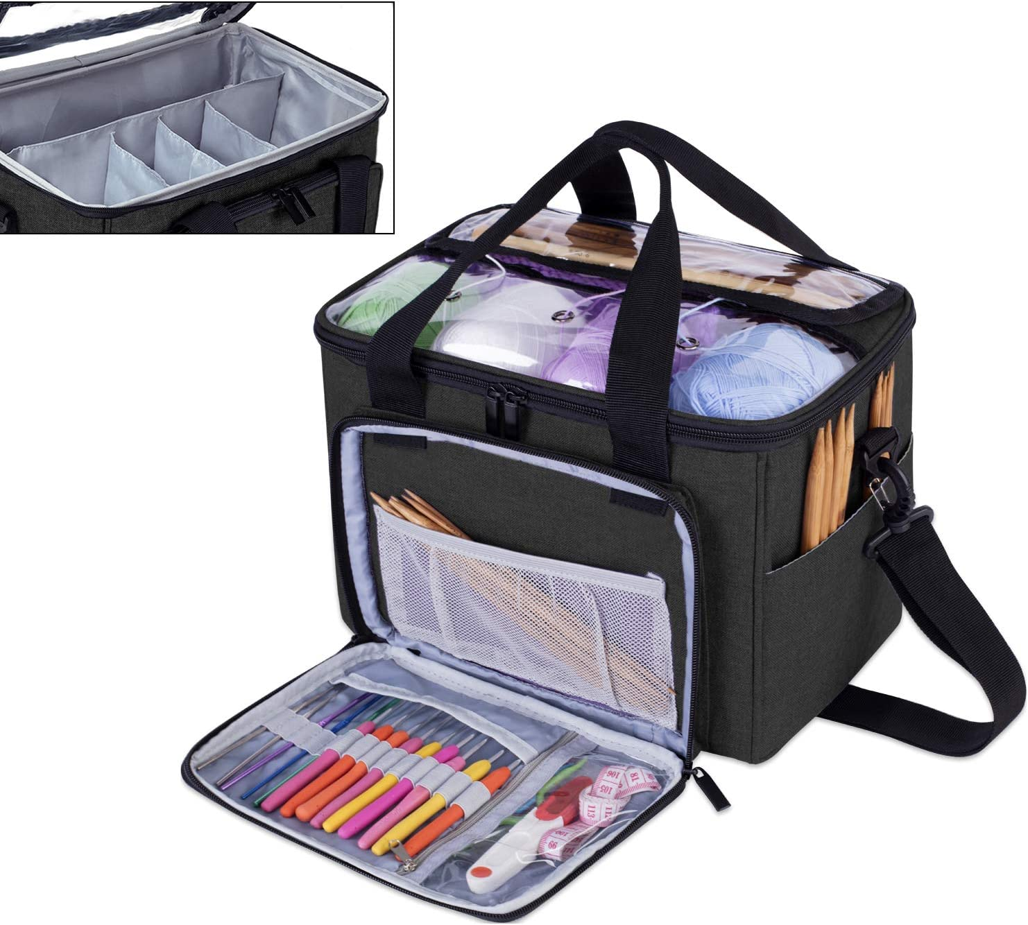 Large with Cover, Gray Yarn Storage Tote Bag with Inner Divider for Yarn and Unfinished Project Teamoy Knitting Bag