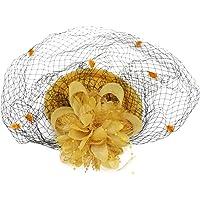 Fascinadores Sombreros Sombrero sin ala Usar sombrero británico Jugador de bolos Sombrero Flor Velo Boda Sombrero Té…