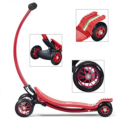 COLIBROX>>>Aluminum Portable Foldable Kick U Shape Scooter for Children Kids Wheels Outdoor>This Scooter Features an Extra-Wide, Slip-Resistant Deck and Three Durable Wheels for Extra Stability. : Sports & Outdoors