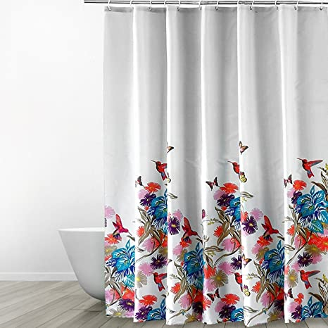Eforgift Natural Image Bathroom Curtain Water Repellent Mildew Free Polyester Shower Soap Resistant With Metal
