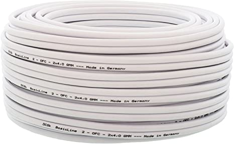 5m 10m 20m 50m 100m Loud HiFi Speaker Cable Wire Quality Oxygen Free OFC White