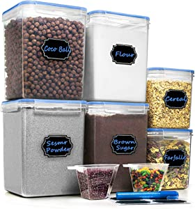 Cereal Containers Food Storage Containers - Hangoes Airtight Pantry Organization and Storage Containers, Baking Supplies, Sugar, Flour Canister Set & Dishwasher Safe - Set of 6 (175.9 oz & 121.7 oz)