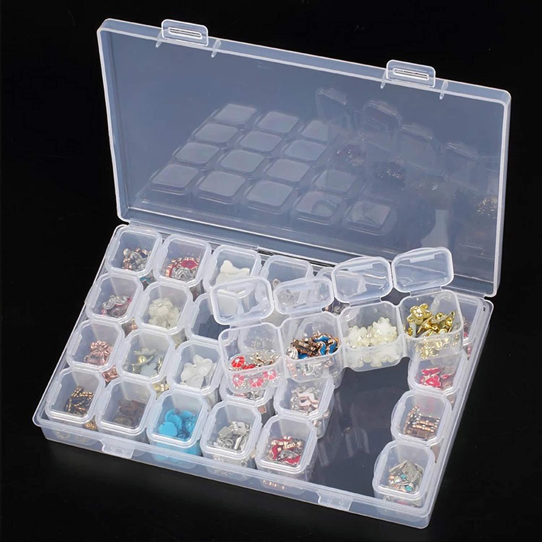 Clear Storage Case – 28 Slots Clear Bathroom Storage Case Removable Rhinestone Nail Art Tools Jewelry Display Storage Box Organizer Ring Beads Holder
