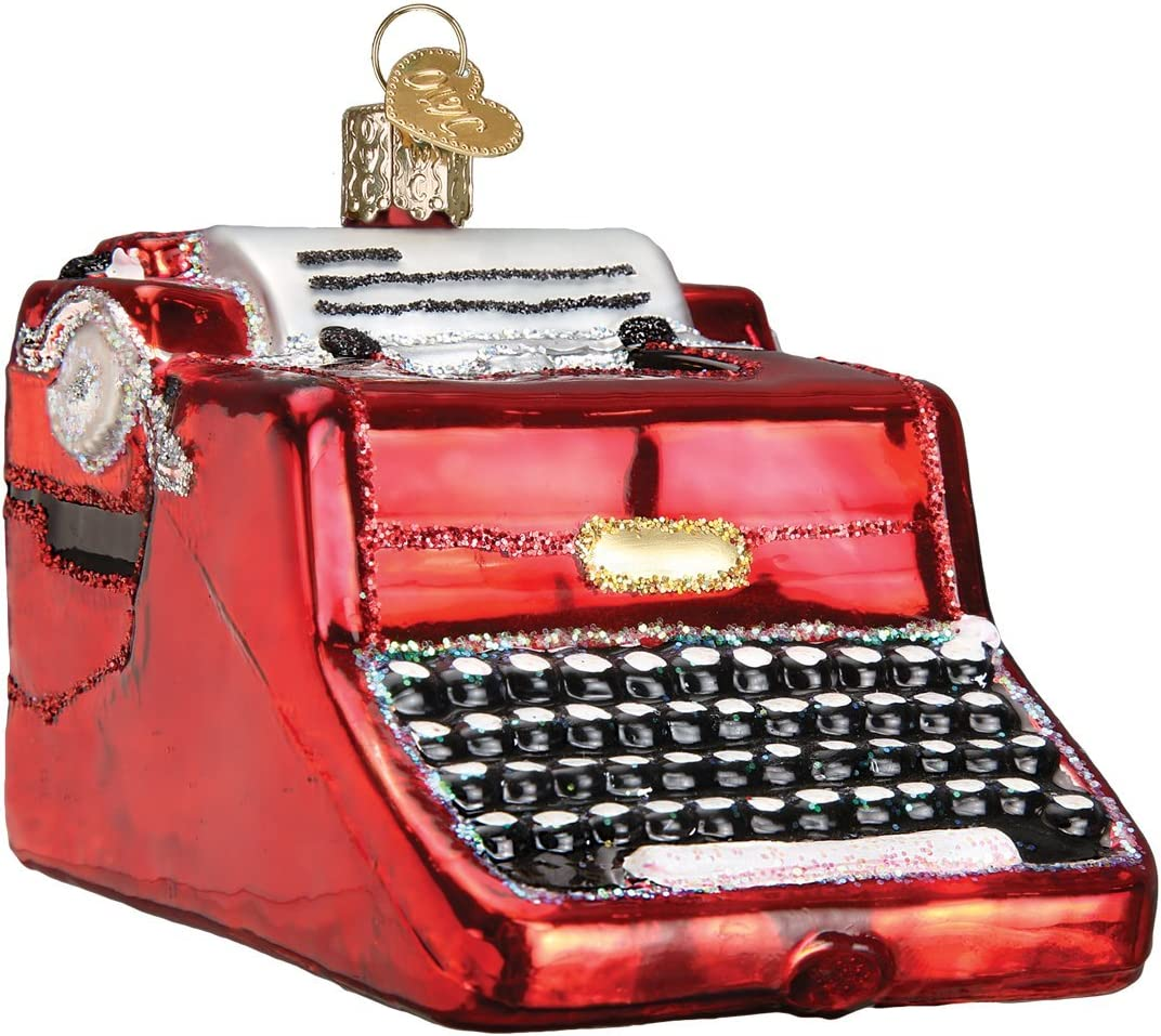 Old World Christmas Ornaments:Typewriter Glass Blown Ornaments for Christmas Tree Typwriter