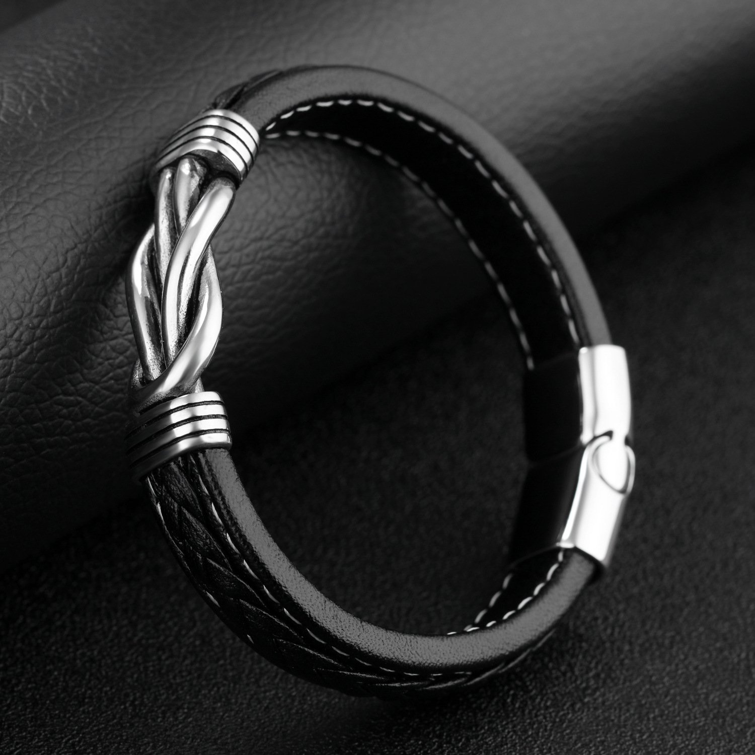 Men/'s Bracelet,Leather Cuff Bracelet for Boys Stainless Steel Charm Bangle Bracelet with Magnetic Clasp