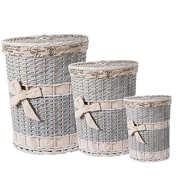 bakaji tris cestos para ropa sucia mimbre trenzado con tapa desmontable interior forrado recipientes salvaspazio