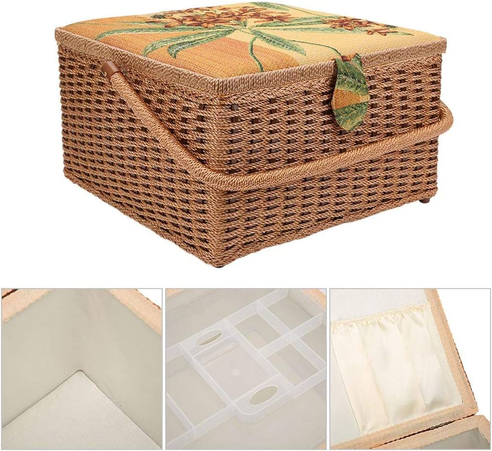 Hand-Made Knitting Tool Jewelry or Small Items Neatly Bicaquu Sewing Basket Super-Large European Sewing Storage Case for Storing Needles