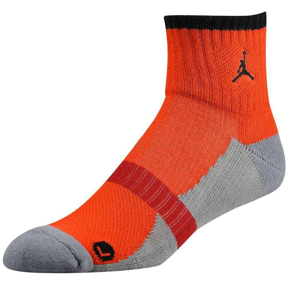 Jordan Men's Air Dri FIT Tipped Low Quarter Socks Medium Orange/Dark Grey by Jordan