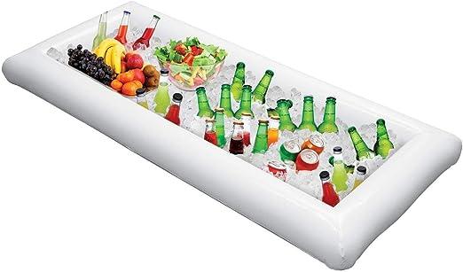 Compra Inflable Piscina Mesa de Bar Gran Buffet Bandeja Servidor con Tapón de Drenaje Mantener Ensaladas y Bebidas Fría de Hielo para Fiestas Indor al Aire Libre Uso Bar Accesorios de Fiesta