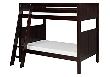 Surprising Camaflexi Panel Style Solid Wood Bunk Bed Twin Over Twin Side Angled Ladder Cappuccino Gmtry Best Dining Table And Chair Ideas Images Gmtryco