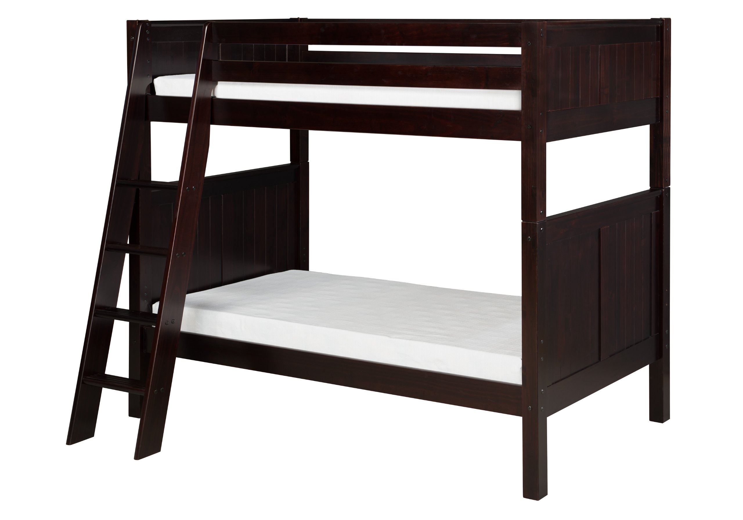 Camaflexi Panel Style Solid Wood Low Bunk Bed, Twin-Over-Twin, Side Angled Ladder, Cappuccino