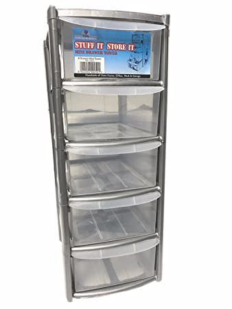 5 Drawer Mini Small Plastic Storage Tower Silver