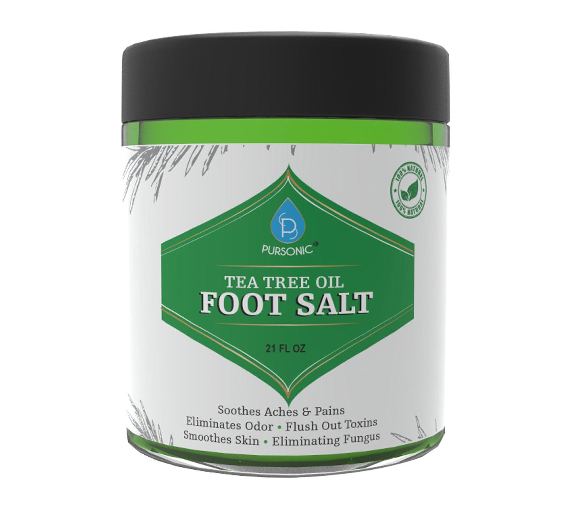 Pursonic Tea Tree Oil Foot Soak With Epsom Salt,Helps Soak Away Toenail Fungus, Athletes Foot & Stubborn Foot Odor – Softens Calluses & Soothes Sore Tired Feet, 21oz