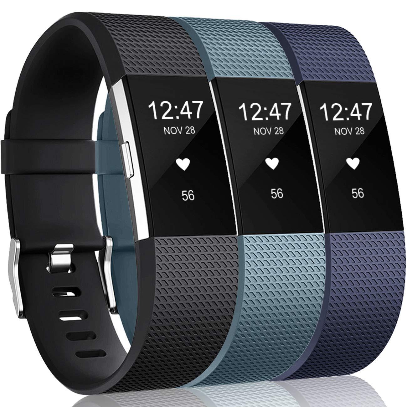 3 Mallas Small para Fitbit Charge 2 Azul marino / Azul pizar