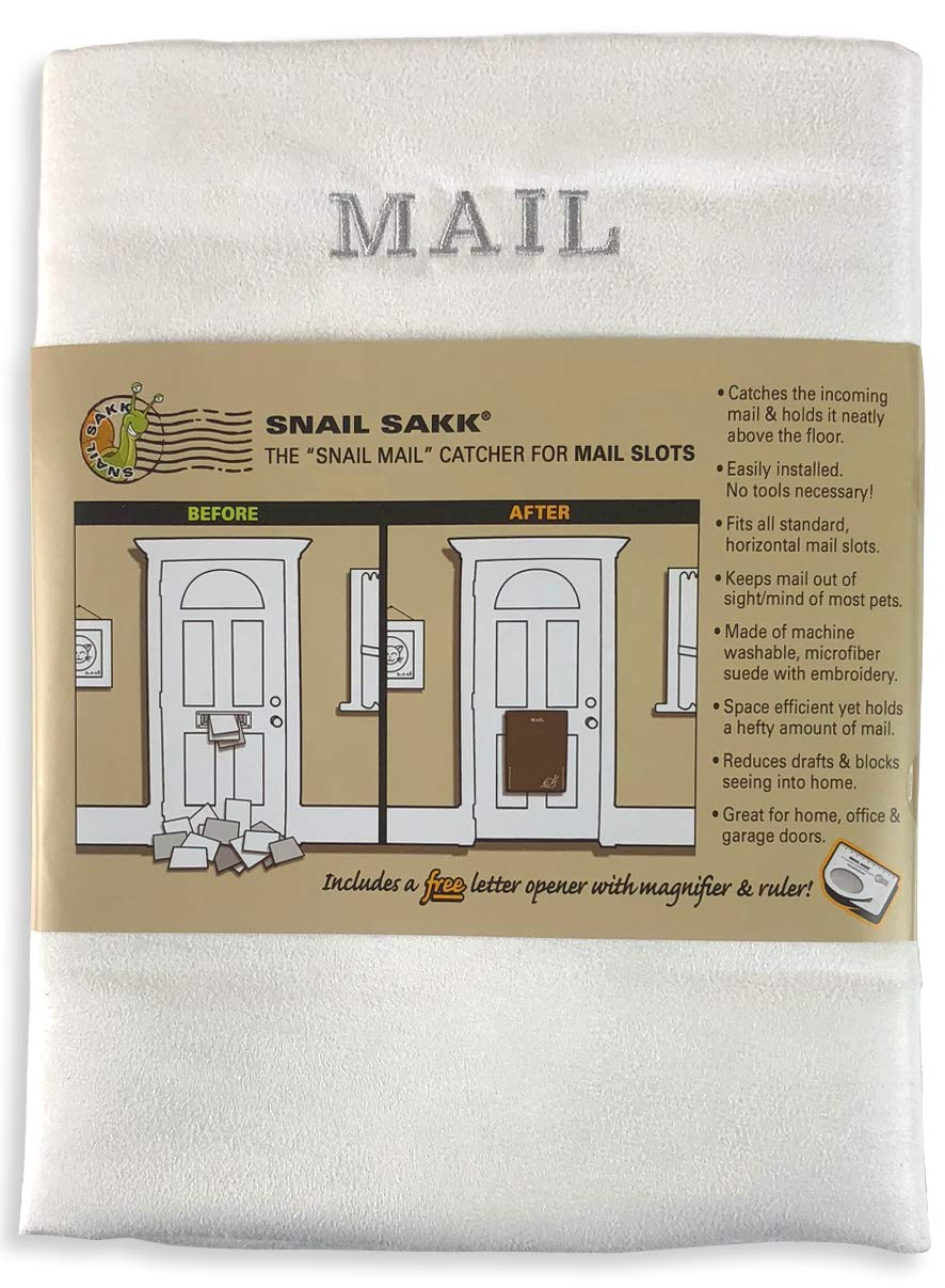 SNAIL SAKK: Mail Catcher For Mail Slots - WHITE W/GRAY. No more mail on the floor! Plus many other benefits!