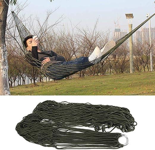 YSHTAN - Hamaca de nailon para acampada, ideal para jardín, patio, cama para dormir al aire libre, camping, color verde militar: Amazon.es: Iluminación