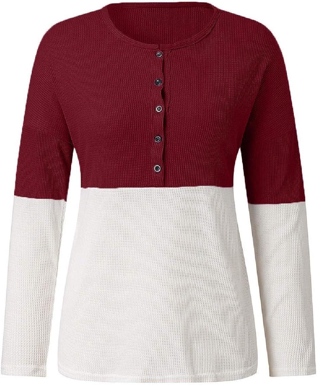 Adreamess Women Sweater Long Sleeve Henley Shirt Casual Waffle Knit Blouse Button Tunic Tops