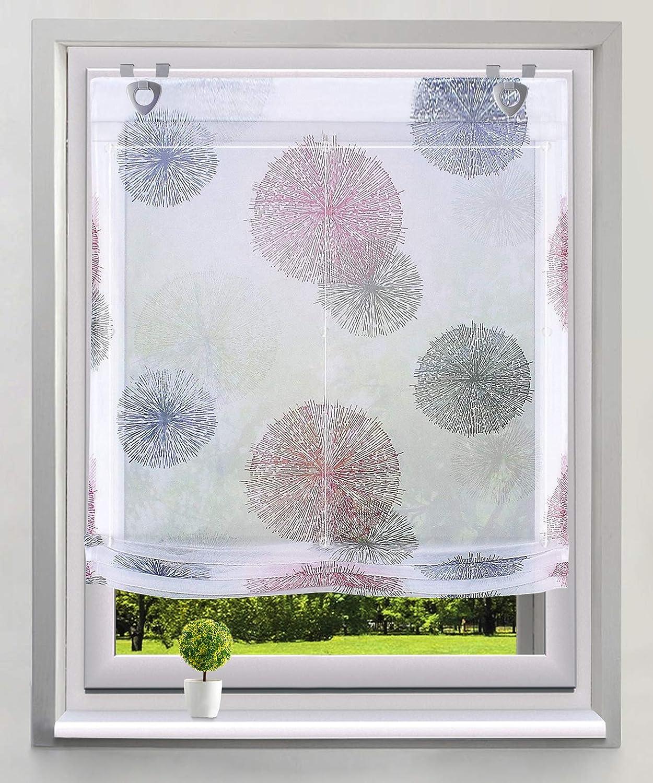 BAILEY JO Raffrollo mit Kreis-Motiven Druck Design Rollos Voile Transparent Vorhang BxH 60x140cm, Blau mit Schlaufen
