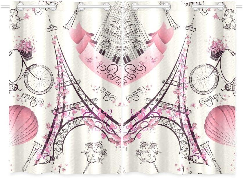 Blackout Window Curtains Romantic Paris Room Bedroom Home Short Drapes Curtains 52X39 Inch
