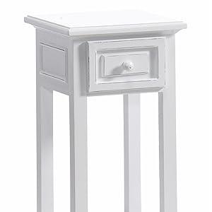 Xtradefactory Table d'appoint design avec tiroir pour téléphone Style rustique Blanc délavé