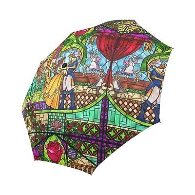 Artsadd Fashion Umbrella Princess and Prince Rose Sun Rain Travel Auto-Foldable Umbrella