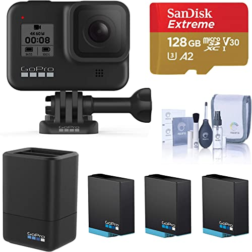 GoPro HERO8 Black, Waterproof Digital Sports and Action Camera with Touch Screen 4K UHD Video 12MP Photos, Power Bundle with Dual Charger, 3 Extra Batteries, 128GB microSD Card, Cleaning Kit